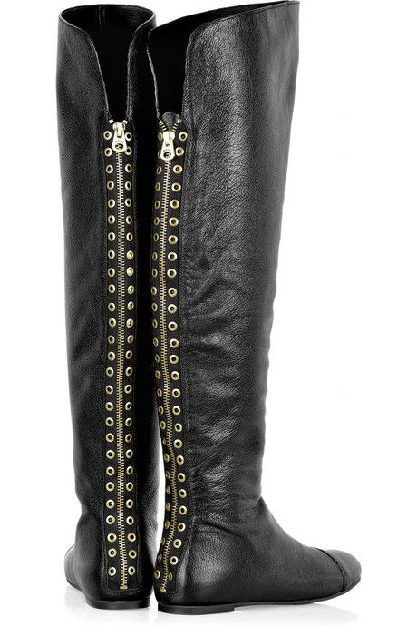 Marc by Marc Jacobs Eyelet-embellished flat leather boots