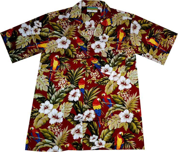 "Hawaiihemd / Hawaii Hemd ""Hawaiian Parrots (red)"" / von Hawaiihemdshop.de / 100% Baumwolle / Kokosnuss-Knöpfe / inkl. Brusttasche"