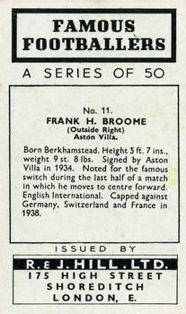 1939 R & J Hill Famous Footballers Series 1 #11 Frank Broome Back