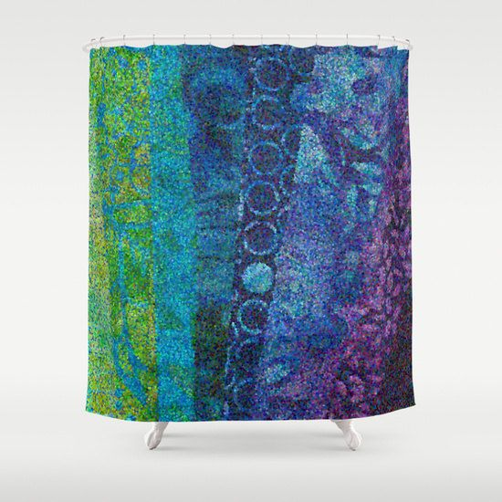 Artistic Shower Curtain Quot Day And Night Quot Teal Blue Purple