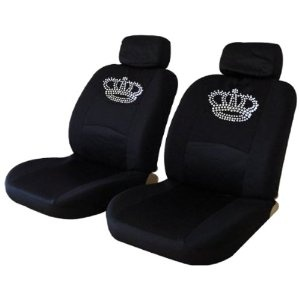 Crown Low Back Seat Covers With Gem Crystals Studded Rhinestones