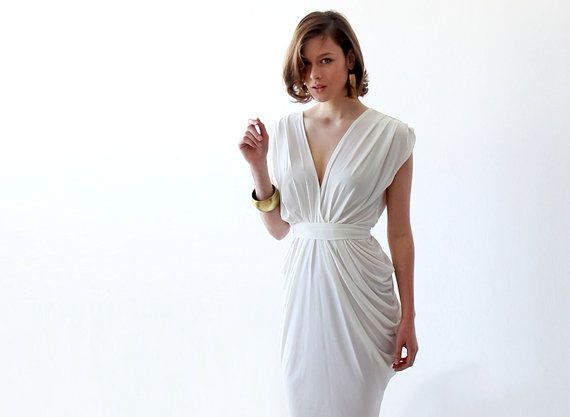 White wedding maxi rehearsal dress - A hint of whimsical femininity makes this beautiful, lightweight maxi dress a stunningly simple yet classic statement piece perfect for your special wedding day!  Magnificent and unique maxi dress, with a feminine modern cut. Made from a lovely viscose knit blend with a silky look. Great as a simple wedding dress or a rehearsal white dress.  The dress is slightly see-through >> we recommend skin color undergarment. Sexy v-back and front Fabulous plea...
