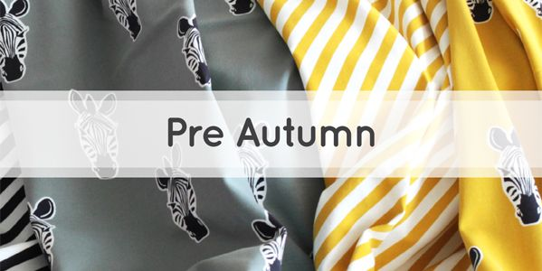 New colours and fabric designs for sewing projects in our Pre-Autumn collection. Fabrics with graphic diagonal stripes, wild zebras, marching elephants and polka dots in new fresh colour combinations!