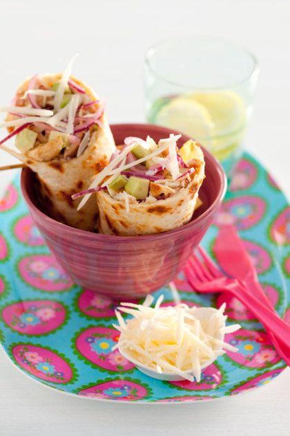 Recept voor wraps met kip, Parmezaan en balsamico-dressing
