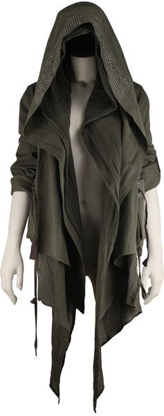 Drawstring hooded jacket with stud detail/attached drape cotton gauze scarf