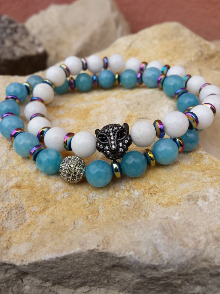 Jade Beaded Stretch Gemstones Bracelet