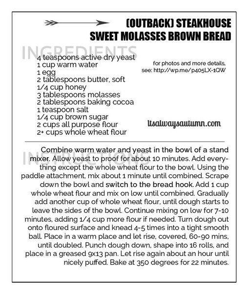 steakhouse sweet brown molasses bread recipe (just like outback!)