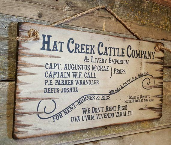 Hat Creek Cattle Company Livery Emporium Lonesome Dove Etsy Hat Creek Cattle Company Lonesome Dove Sign Lonesome Dove