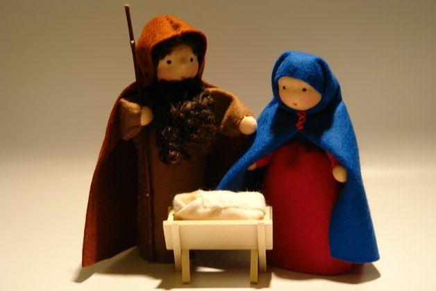 Krippen - Heilige Familie - Jahreszeitentisch-Weihnachten - ein Designerstück von Katjas-Puppenstuebchen bei DaWanda