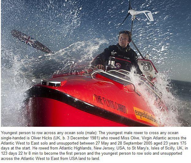 Guinness Rekorlar Kitabı'ndan Rekorlar-okyanusu tek başına kürek çekerek geçen en genç insan 3 Aralık 1981 doğumlu İngiliz Oliver Hicks. Hicks'in Atlas Okyanusu'nun batısından doğusuna yaptığı bu yolcuşuk 123 gün 22 saat 8 dakika sürdü.