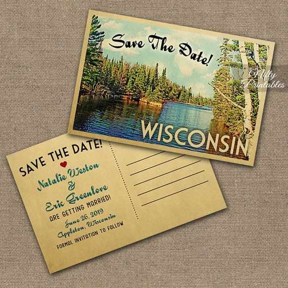 Wisconsin Save The Date Postcards - Printable Iron County Wisconsin River Postcard - Retro Shays Dam Nature Camping Save The Date Cards VTW