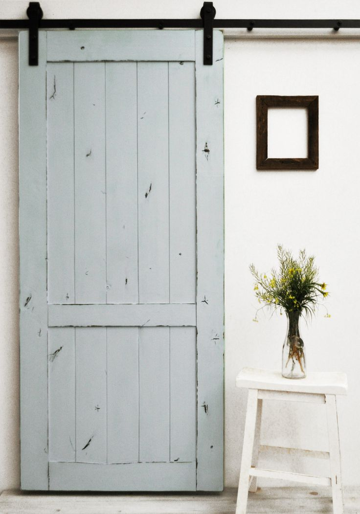 "A lightly distressed finish on a classic barn door design. Like Mama always said, ""If it ain't broke don't fix it."" Standard door sizes are 82""H x 36""W and the larger 96""H x 48""W. Our collection of Do"