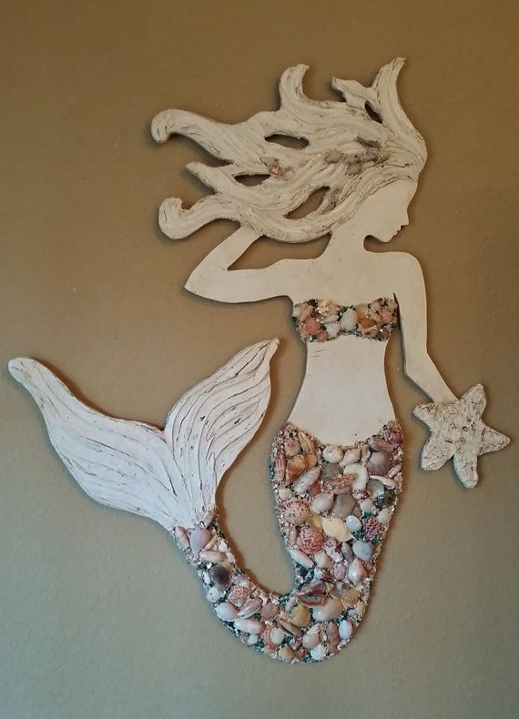 Mermaid Wall Art Handmade Wood Mermaid Beach by LucyDesignsonline