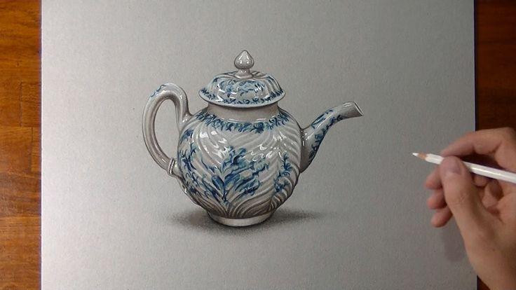 How I draw a porcelain teapot