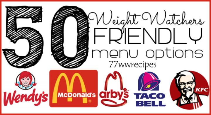 50 WEIGHT WATCHERS FRIENDLY FAST FOOD MENU OPTIONS – ALL UNDER 8 POINTS | Weight Watchers Recipes