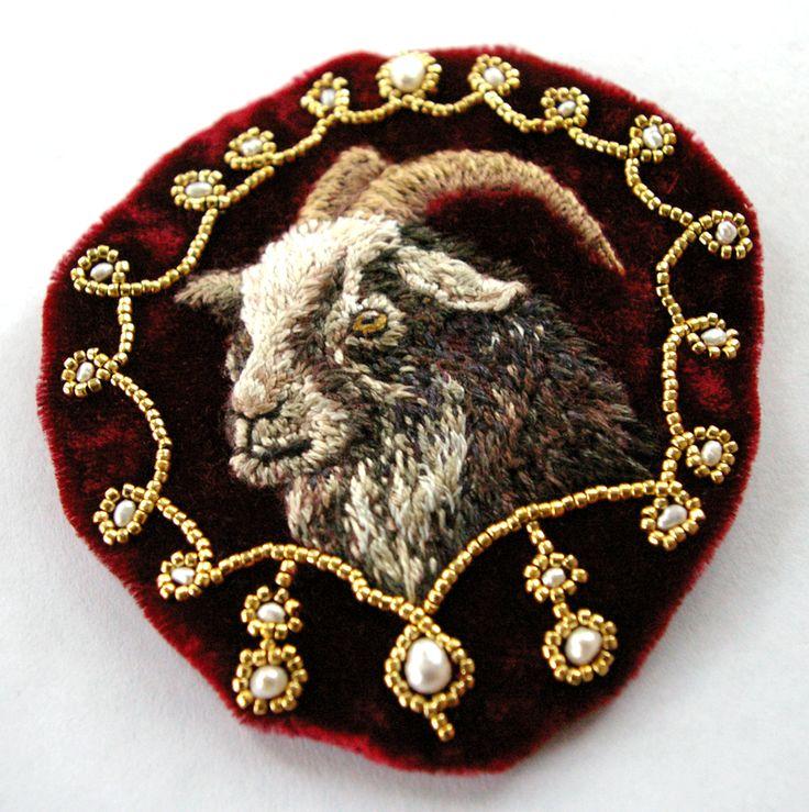 "fionabearclaw: "" fanciest goat appliqué hand embroidery """