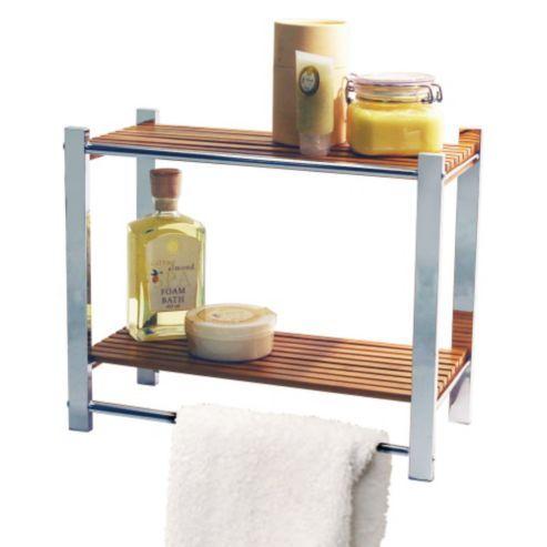 bamboo bathroom wall storage shelf towel rail silver natural