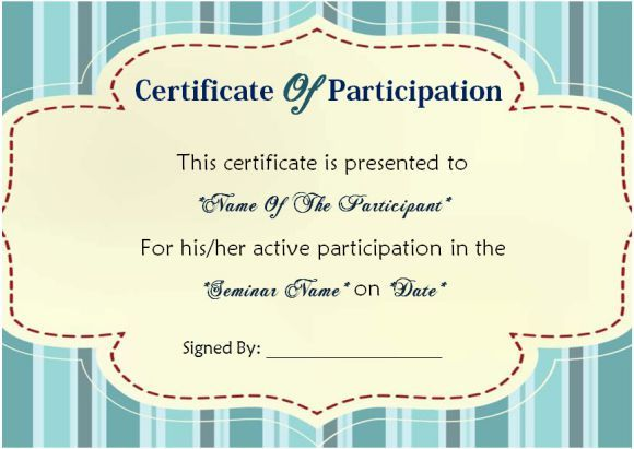 Best Sample Certificate Of Participation In Seminar Images On