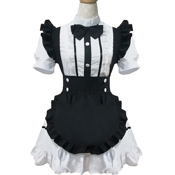 French Maid Dress Costume MD015 (225 SAR) ❤ liked on Polyvore featuring costumes, dresses, sexy maid halloween costume, french maid costume, sexy maid costume and french maid halloween costume