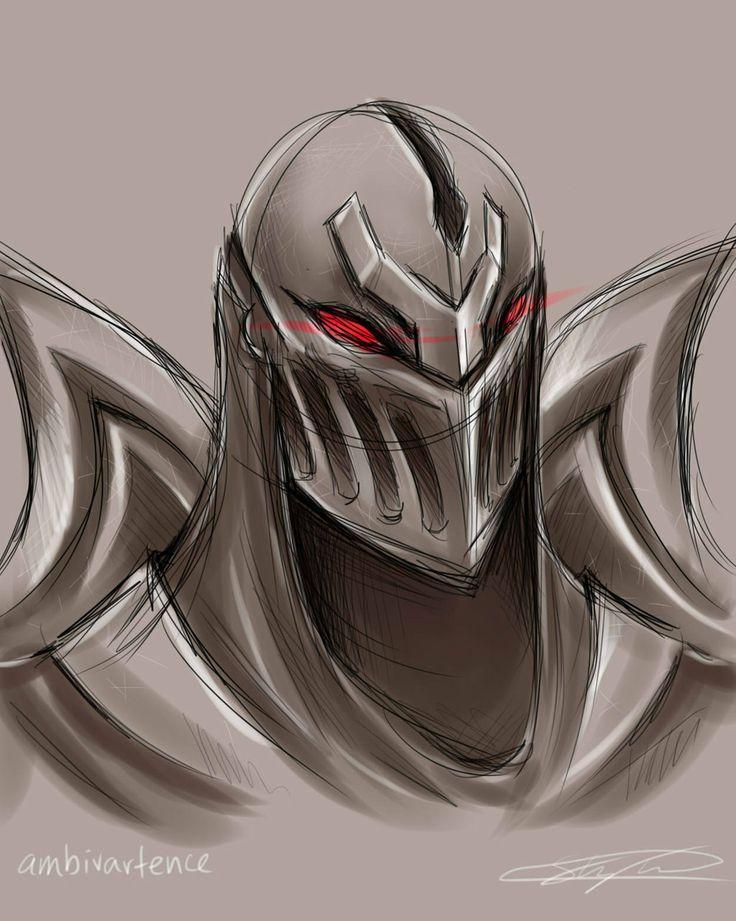 League of Legends - Zed Portrait Sketch by ambivartence.deviantart.com on @deviantART