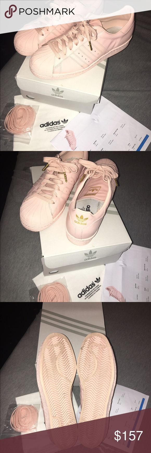 Adidas shell top in pastel pink (custom) Custom Adidas shell top in pastel pink with gold detailing, Us size 10,  used once. Come with original packaging a extra pair of laces, dust bag and box. Adidas Shoes Sneakers