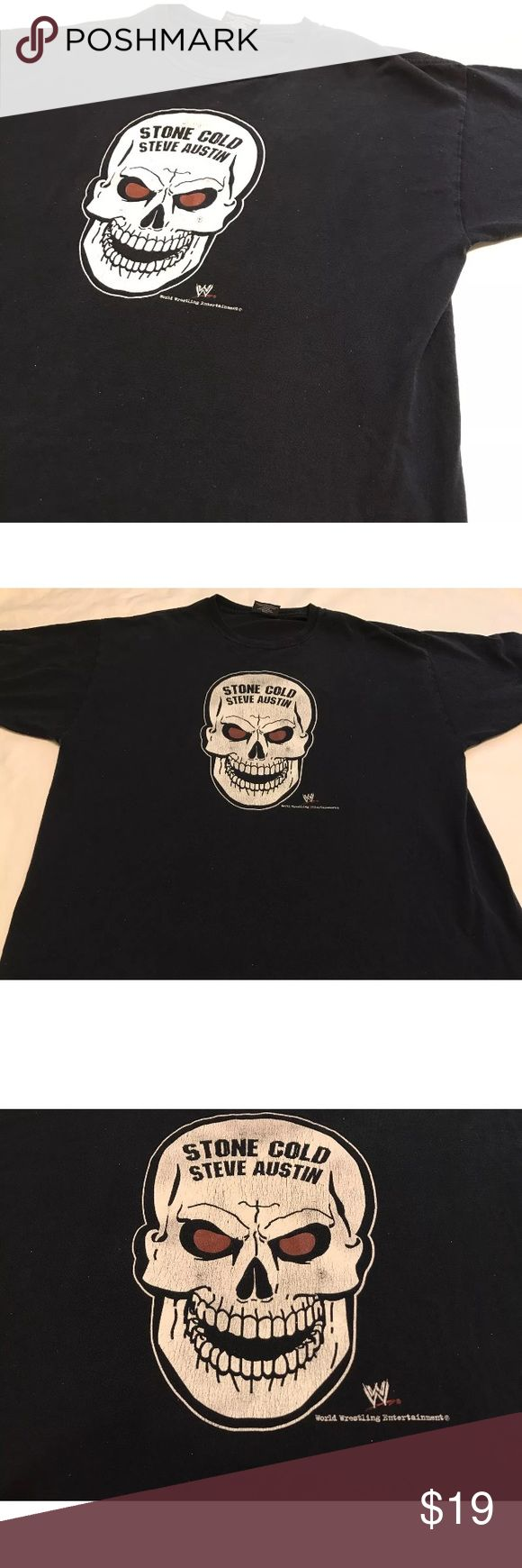 Vintage Stone Cold Steve Austin WWE T Shirt XL WWF Vintage Stone Cold shirt. Good condition, no holes or stains. Keep in mind this is vintage. So, there is a little fading to the black cotton. Men's XL. Shipping same day or next! WWE Shirts Tees - Short Sleeve