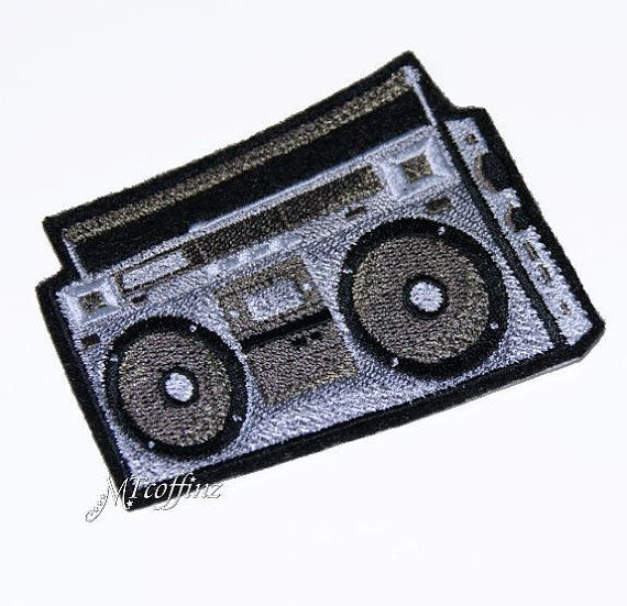80s Boom Box Radio Retro Hipster Silver Black Iron On Embroidery Patch MTCoffinz