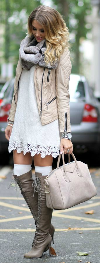 Daring, but pretty! Lose the scarf & the knee socks though... :)
