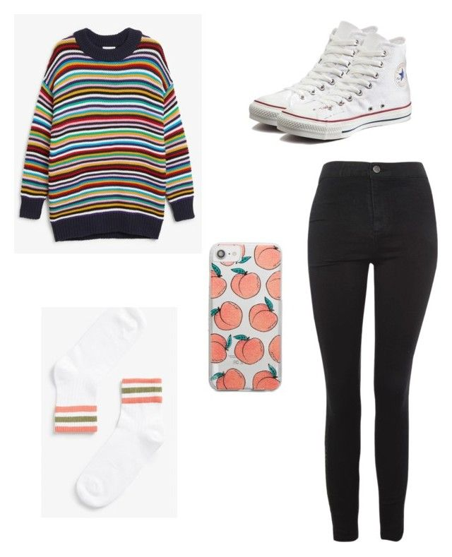 Peachy and colorful by kyrarosie on Polyvore featuring polyvore, fashion, style, Topshop, Converse, Skinnydip and clothing