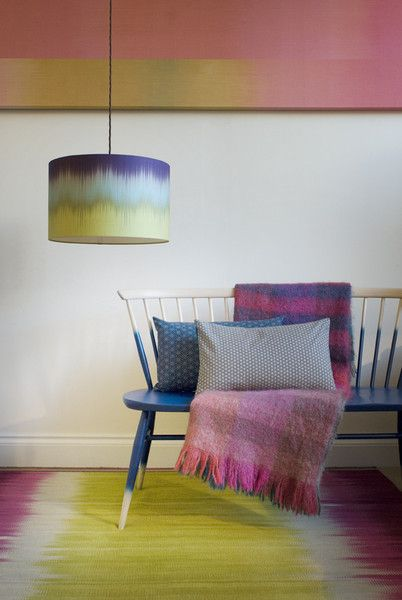 Ikat Lampshade - Drum Shade - Aubergine and Lime - Designed By Ptolemy Mann