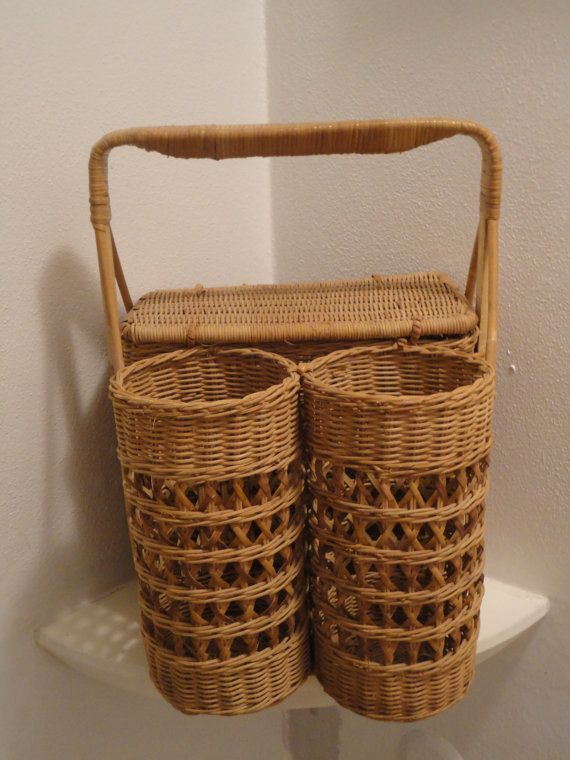 Vintage Wicker Picnic Basket With Two Wine By ITSASMALLWORLDINDEED, $30.00
