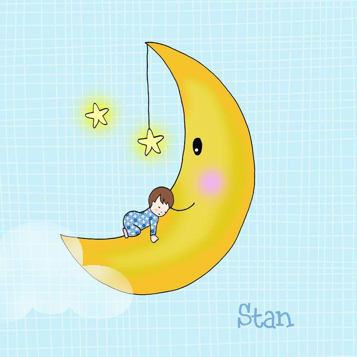 Lief handgetekend geboortekaartje met kindje op de maan. De maan heeft leuke roze wangetjes en de sterren fonkelen in de lucht.