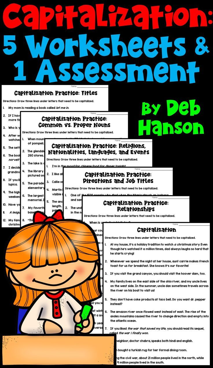 Capitalization Rules: 5 Worksheets and 1 Assessment | Writing ...