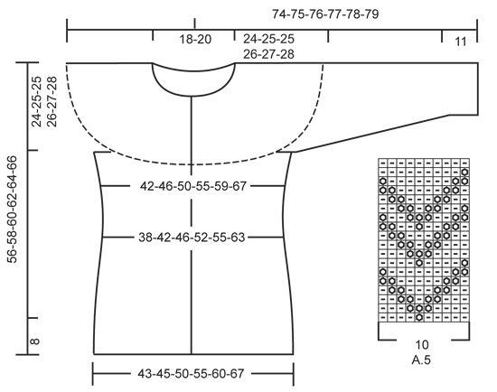 Casaco cintado DROPS com encaixe arredondado, jacquard norueguês e malhas liga ou tricô, tricotado de cima para baixo (top down), em Karisma. Do S ao XXXL.