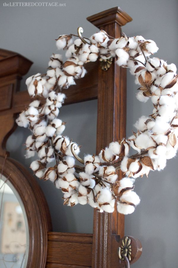 Cotton Wreath | The Lettered Cottage/ love this wreath and tge pot/pan wall rack, I would like copper.....