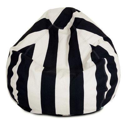 Vertical Stripe Bean Bag Chair Color: Black - http://delanico.com/bean-bag-chairs/vertical-stripe-bean-bag-chair-color-black-547140667/