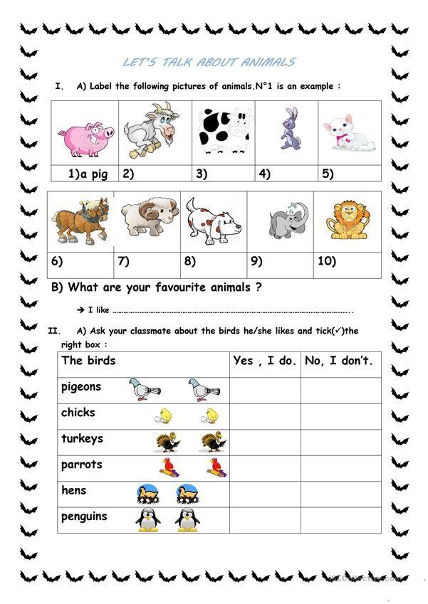 Let S Talk About Animals English Esl Worksheets English Talk Let Them Talk Writing Skills