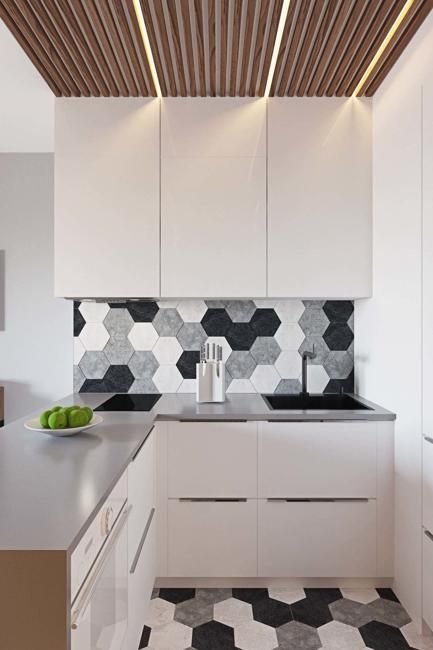 Kleine Küchen-Design-Ideen, wie man kleine Räume visuell dehnt ...