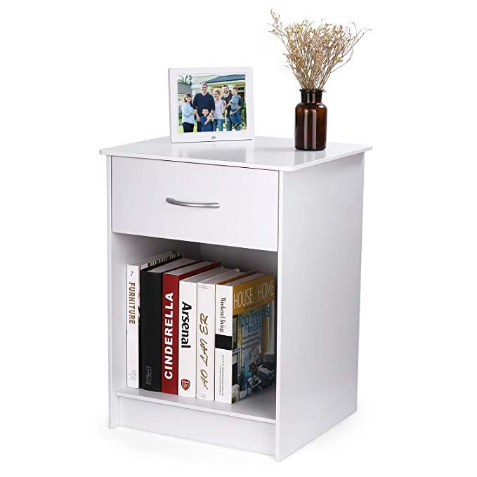 Intey White Wood Nightstand With One Drawer And Open Cabinet