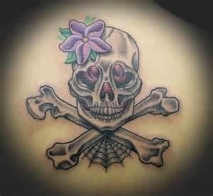 Girly skull and crossbones tattoos tattoos pinterest for Skull and crossbones tattoo