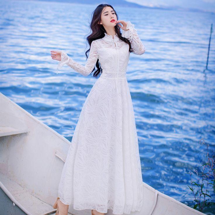 2017 New Spring Retro Women White Lace Dress Long Sleeve Temperament Stand Collar Slim Maxi Dress Female Party Dresses Vestidos
