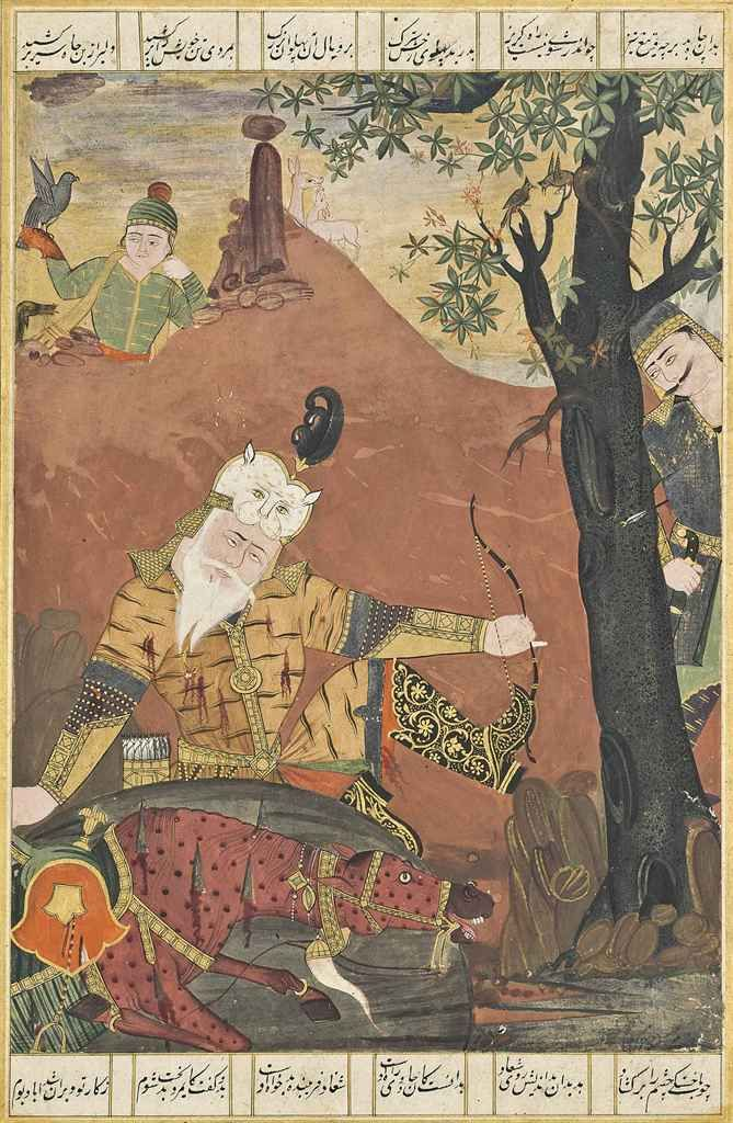 A folio from a large illustrated Shahnama (book of kings): the death of Rustam and his horse Rakhsh Mughal India, late 18th century