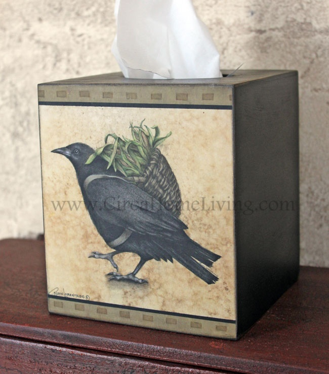 Circa Home Living ** Wooden Tissue Cover   Crow