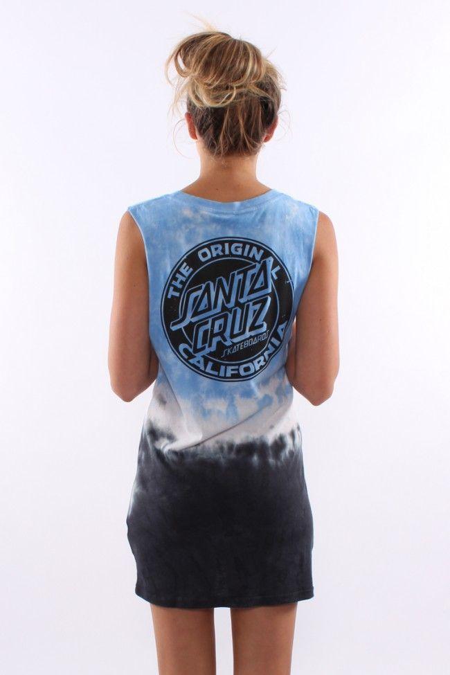 Santa Cruz - Cali Dot Girls Muscle Dress Ocean Tie Dye