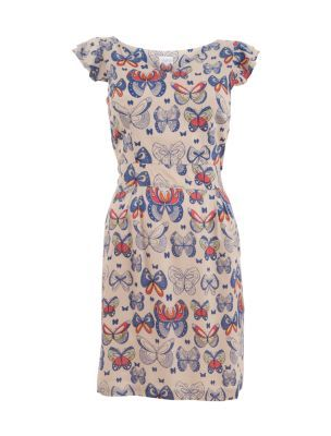 Yumi Papillion Pink Butterfly Print Dress. I can see myself wearing this dress with flats or white socks with tan shoes