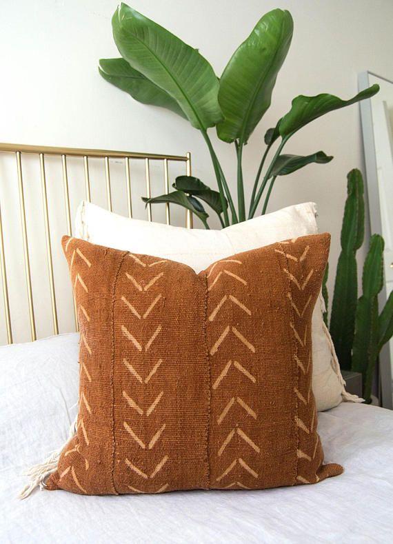 Mudcloth Pillow Cover Rust Mudcloth Pillow Vintage Yellow Bedding African Mudcloth Pillow Mudcloth Pillow