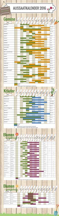 Aussaatkalender 2016  #vegan #Gemüsebeet  Entdeckt von www.vegaliferocks.de✨ I Fleischlos glücklich, fit & Gesund✨ I Follow me for more inspiration  @ vegaliferocks