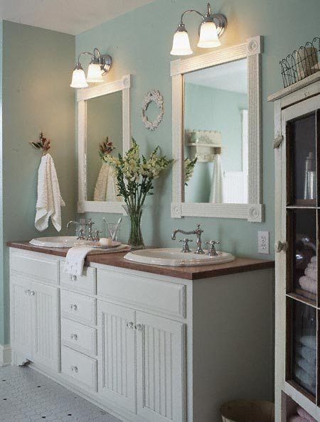 Love the wall color ideas on remodeling the new home for Pretty bathrooms