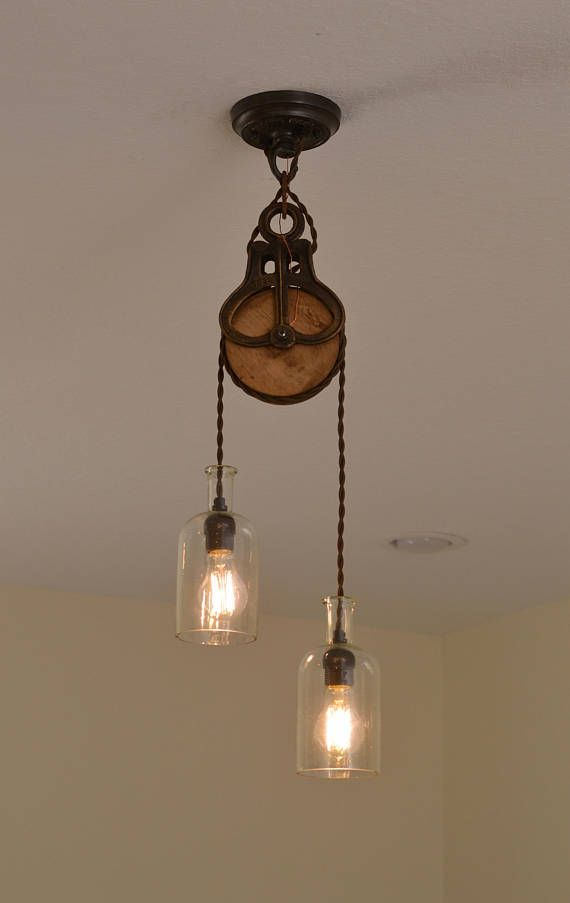 Pin By Raymond Bradford On Things To Make In 2019 Rustic Pendant Lighting Antique Light Fixtures Pulley
