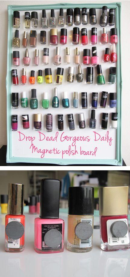 DIY Magnetic nail polish board